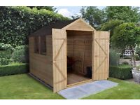 Garden Shed 8x6 Overlap Pressure Treated Apex with Double Doors,15yr anti rot Guarantee BRAND NEW.
