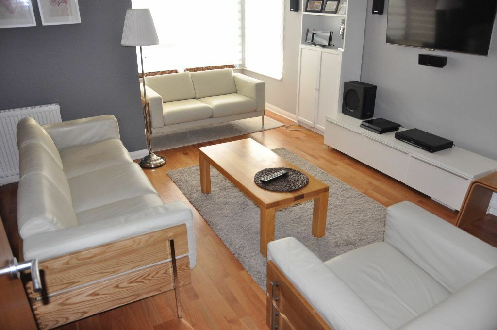 Habitat days forum ivory leather suite 3 seater sofa - Chaise robin day habitat ...