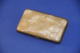 Vintage Phenolic Bakelite Ladies Cigarette Case Yellow Pearlised Marble Effect 1930s Tobacciana VGC
