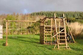 Garden Jungle Gym - large, strong, swings, fort, firemans pole, climbing wall etc