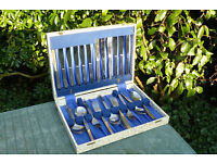 Retro box of stainless steel cutlery 38 pieces.