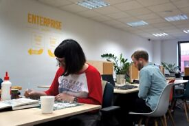 Desk space at a not-for-profit coworking workspace in central Bristol