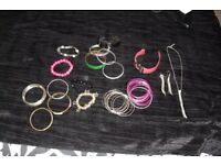 SELECTION OF COSTUME JEWELLERY BANGLES, BRACELETS, WATCH