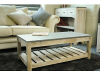 Rough Sawn Pine Coffee Table with Concrete Effect Top - New - Free Delivery