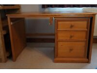 Desk with drawers and shelves - solid wood, large