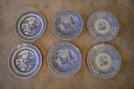 Spode Blue Room Collection 14 dinner plates & 1 cake plate