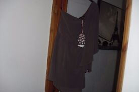 SIZE 10 NEW WITH TAGS ONE SHOULDER DRESS COLOUR MINK
