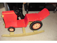 LITTLE RED ROCKING WOODEN TRACTOR