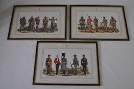 set of 3 vintage military prints