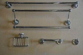 Set of 5 bathroom accessories all Heritage style in chrome