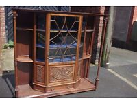 Beautiful Antique arts & crafts Art Nouveau , astragal glazed display cabinet, shelves, etc.