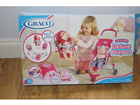 Graco Deluxe Playset, 4 in 1: Swing, High Chair, Changing bag & Pram set in Box