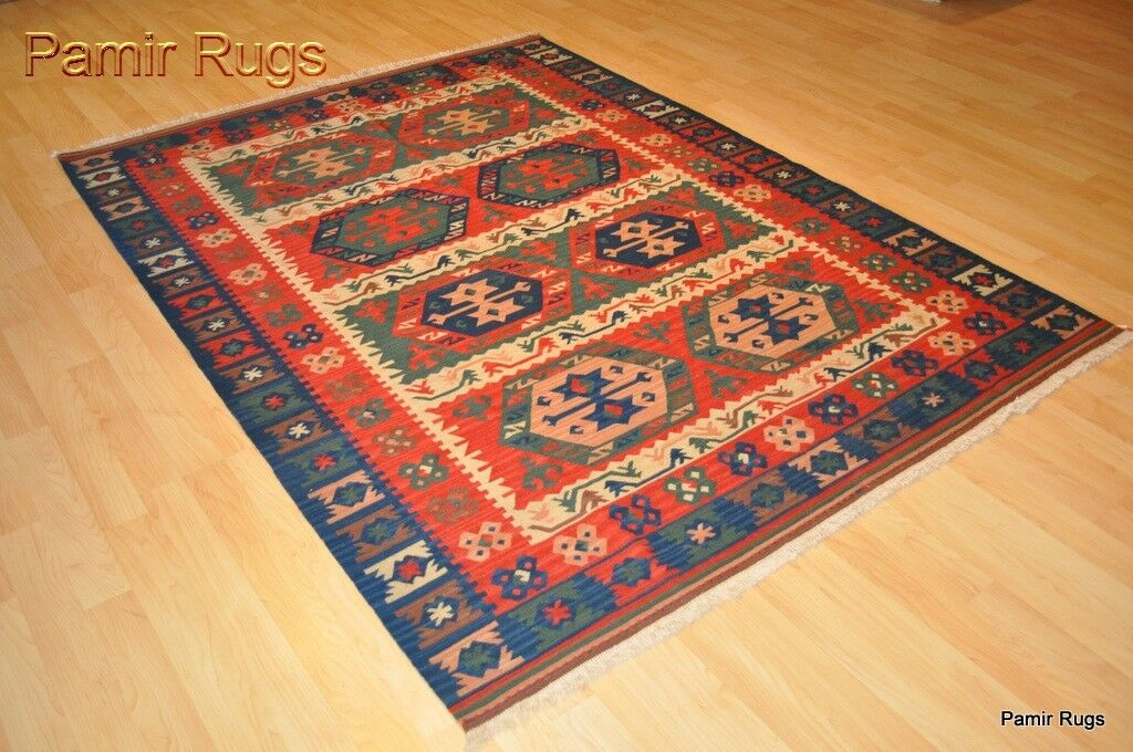 Fine Quality Wool Kilim Area Rug 5x7 Handmade Red And Blue