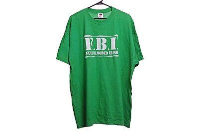 Mens St Patricks Day FBI Full Blooded Irish Green Big & Tall SS Shirt 2XL 2X
