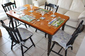 Pine dining table & four matching chairs