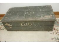 Large Vintage Wooden Box Storage Chest