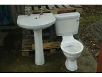 Bathroom basin with pedestal and matching toilet