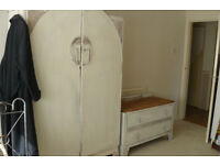 LARGE WARDROBE AND CHEST OF DRAWERS, PAINTED / WAXED
