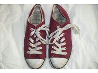 "SIZE 4 PAIR RED LACE UP PUMPS MAKE ""DUNLOP"" IN GOOD CONDITION"