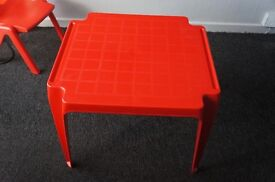 Red table and chair