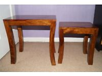 Nest of two solid wood tables