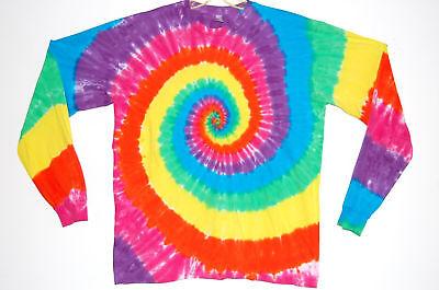 American Apparel TIE DYE Long Sleeve Neon Rainbow xs sm med lg xl fine jersey Rainbow Jersey Tie