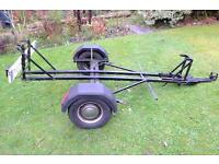 Single motorbike trailer. Mini Wheels, substantially built, a bit tatty but very usable.