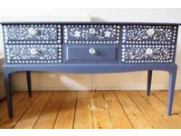 Sideboard Buffet Dresser Refurbished Blue Hand Painted with White Flowers