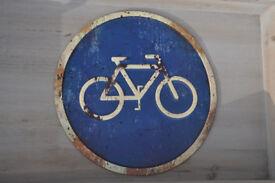 bike sign metal sign