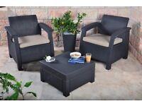 Keter Corfu 2-Seater Rattan Sofa Outdoor Garden Furniture!