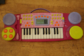 Fancy girls toy beautiful music instrument small pink piano with microphone