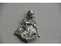 Vintage silver pixie elf fairy brooch on alabone leaf style of Cyvra OFFERS INVITED
