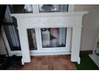 WOODEN FIRE SURROUND PAINTED WHITE GOOD COND.