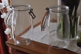 2 Kilner-type Glass preserving jars, 1.5litre.