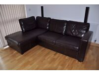 Brown, real leather corner sofa bed