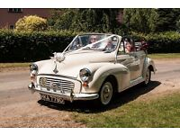 CHAUFFEURED MORRIS MINOR WEDDING CAR FOR HIRE IN SUFFOLK AND NORTH ESSEX