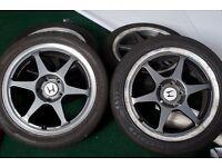 "Buddyclub P1 Racing II Alloy Wheels Rims 17"" 5x114 & 225/45/17 Tyres Jdm Jap Type R"