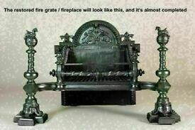 Large Antique Fireplace Cast Iron Victorian Gothic Fire Grate. Dated 1869 Stunning
