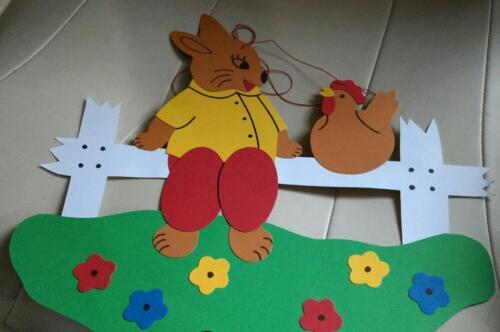 Fensterbild Ostern Hase Mit Huhn Auf Einem Zaun Neu In