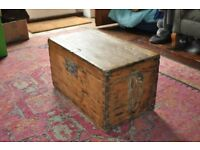 Antique Wooden Trunk - Possibly carpenters box