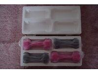 2 SETS V-FIT DUMBBELLS 1kg & 1.5 kg GREY & HOT PINK VINYL UNUSED STILL IN BOX COLLECT ONLY BENFLEET