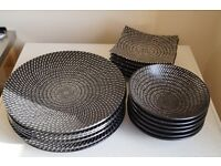 18 PIECE COAL BLACK DINNER SERVICE