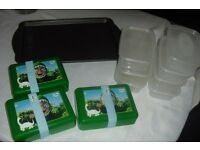 SELECTION OF FOOD STORAGE BOX'S, KIDS LUCH BOX'S + LARGE BAKING TRAY