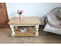 Restored handmade solid country style pine coffee table painted in Annie Sloan