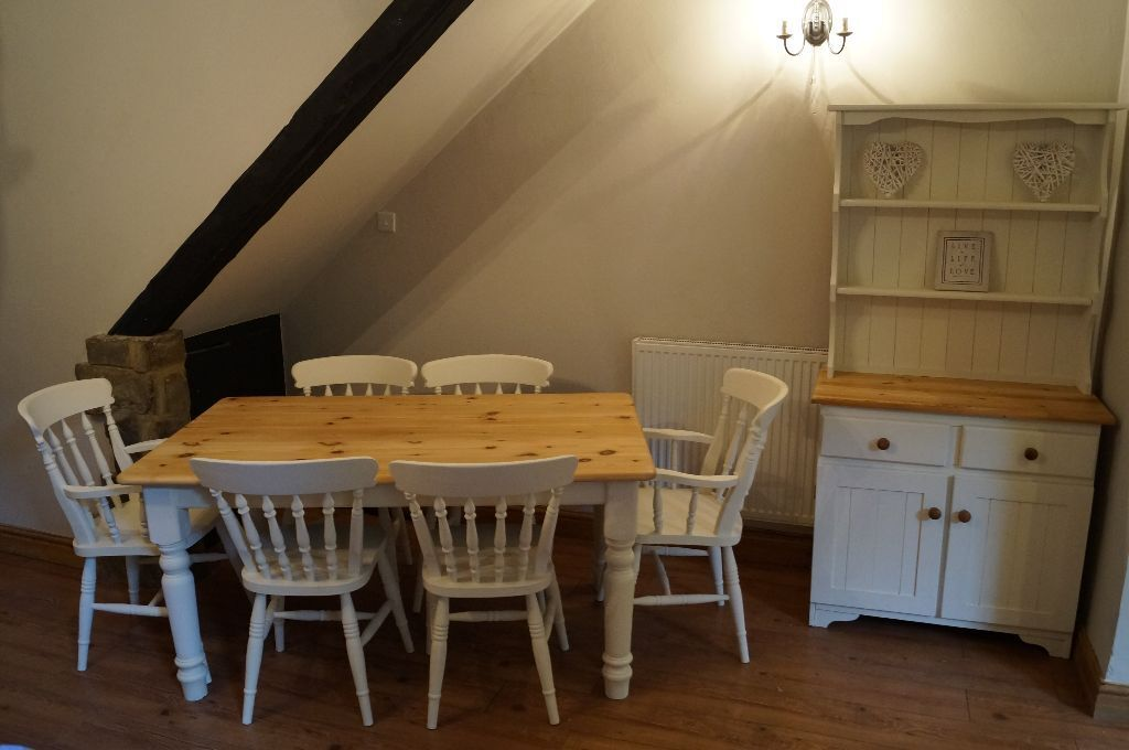 SOLID PINE FARMHOUSE DINING TABLE 6 CHAIRS MATCHING WELSH DRESSER SHABBY CHIC DELIVERY AVAILABLE