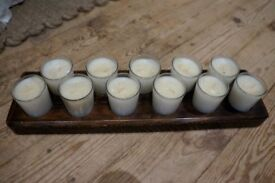 *Further Reduced* Wooden Block with 11 Glass Candles