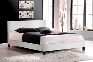 FREE Delivery in Montreal! Faux Leather Platform Bed in White or Espresso! Brand New!