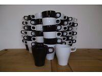 Job lot 60 mugs white / dark brown