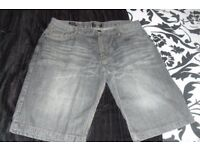 "SIZE 34"" WAIST PAIR MEN'S/BOYS BLACK DENIM SHORTS"