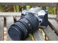 Minolta Dynax 4 wih a Sigma 70-300 lens